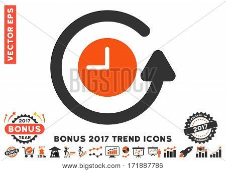 Orange And Gray Restore Clock pictograph with bonus 2017 trend pictograms. Vector illustration style is flat iconic bicolor symbols white background.