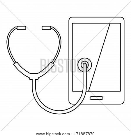 Phone diagnosis icon. Outline illustration of phone diagnosis vector icon for web