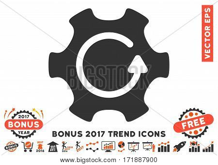 Orange And Gray Rotate Gear pictogram with bonus 2017 trend symbols. Vector illustration style is flat iconic bicolor symbols white background.