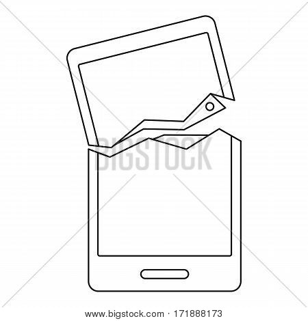 Broken phone icon. Outline illustration of broken phone vector icon for web