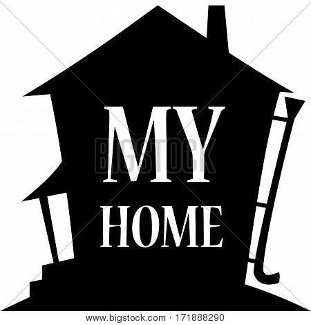 Home background. Silhouette of the house. Vector illustration.