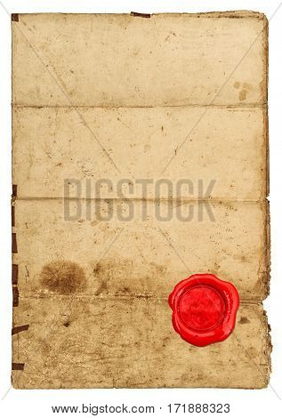Used paper texture with edges. Worn paper sheet and red seal on white background