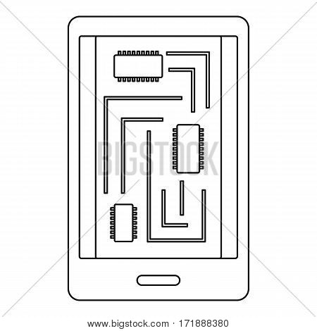Phone innards icon. Outline illustration of phone innards vector icon for web