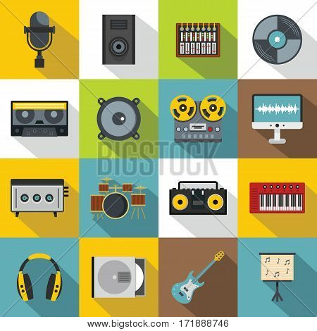 Recording studio items icons set. Flat illustration of 16 recording studio items vector icons for web