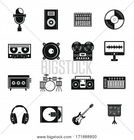 Recording studio items icons set. Simple illustration of 16 recording studio items vector icons for web