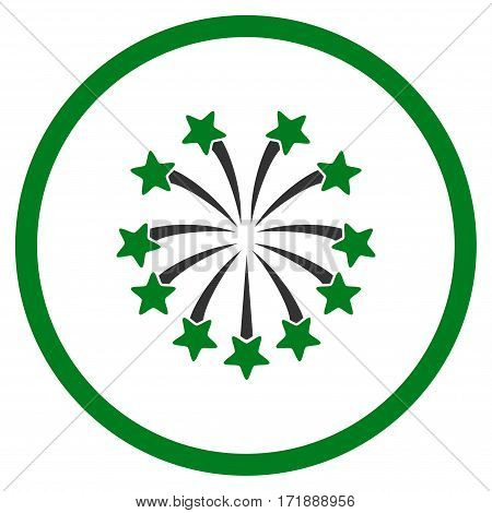 Spherical Fireworks rounded icon. Vector illustration style is flat iconic bicolor symbol inside circle green and gray colors white background.