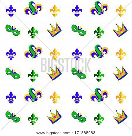 Carnival, Festival, Masquerade decorative pattern design. Mardi Gras Carnival pattern with fleur-de-lis symbol, crown, carnival mask. Mardi Gras endless background, texture, wrapper. Vintage ornament