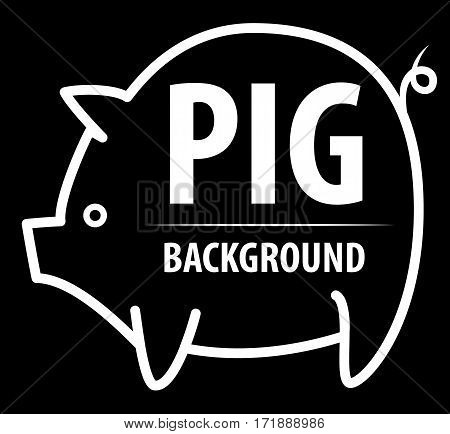 Big pig background. The contrast image. Cartoon flat characters. Vector illustration.
