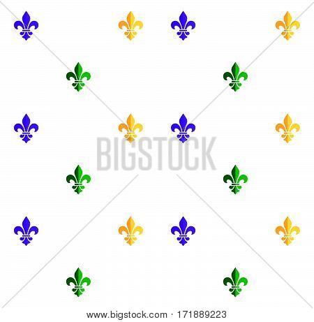 Carnival, Festival, Masquerade decorative pattern. Mardi Gras Carnival pattern with fleur-de-lis symbol. Mardi Gras endless background, texture, wrapper. Vector illustration. Vintage ornament