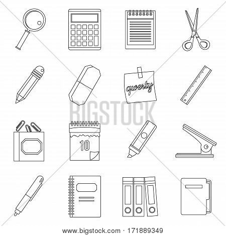 Stationery symbols icons set. Outline illustration of 16 stationery symbols vector icons for web