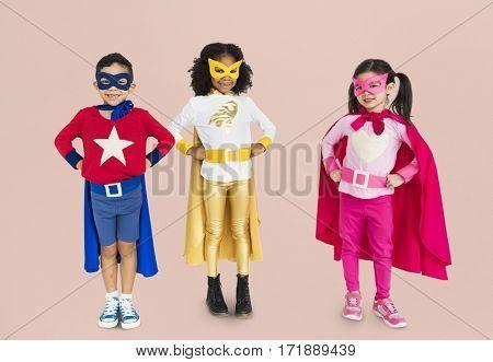 Superhero Kids Together Cheerful Concept