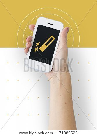 hand holding smart phone connection