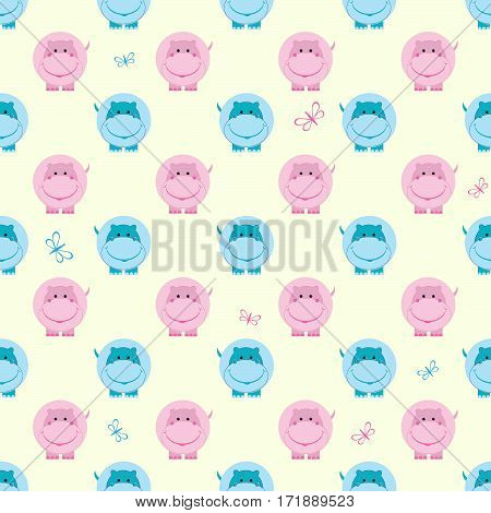 kids seamless pattern cute hippo vector illustration