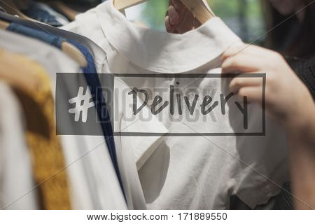 Shopping clothing at store with delivery hashtag