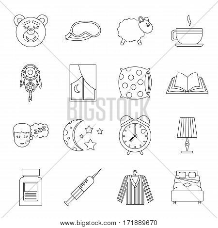 Sleep icons set. Outline illustration of 16 sleep items vector icons for web