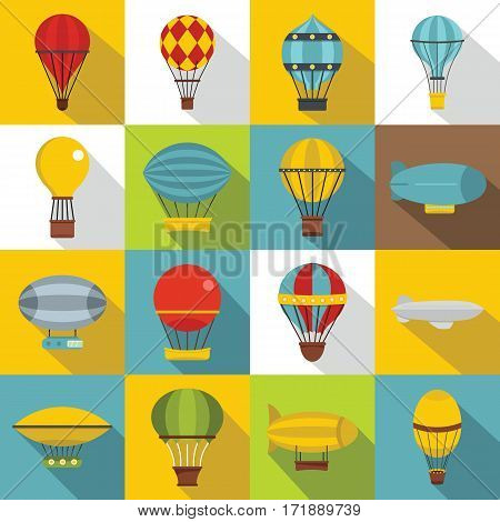Retro balloons aircraft icons set. Flat illustration of 16 retro balloons aircraft vector icons for web