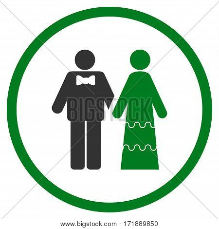 Wedding Persons rounded icon. Vector illustration style is flat iconic bicolor symbol inside circle green and gray colors white background.