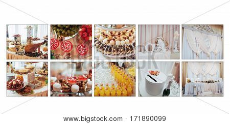 Luxurious room of the restaurant to celebrate a wedding celebration. Sweet buffet table. Classic white leather wedding photobook and album