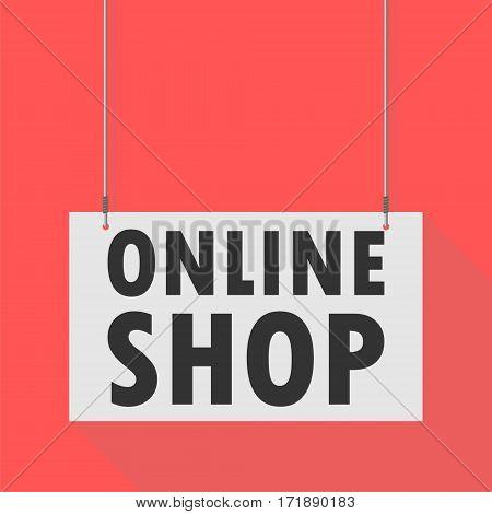 Hanging Sign online shop on red background