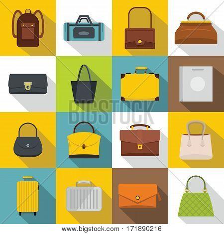 Bag baggage suitcase icons set. Flat illustration of 16 bag baggage suitcase vector icons for web
