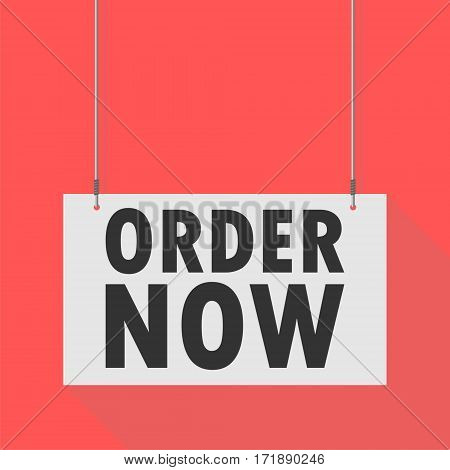 Hanging Sign order now on red background