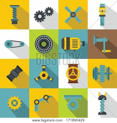 Techno mechanisms kit icons set. Flat illustration of 16 techno mechanisms kit vector icons for web