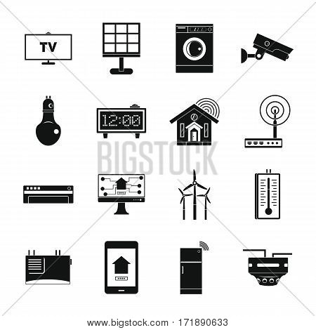 Smart home house icons set. Simple illustration of 16 smart home house vector icons for web