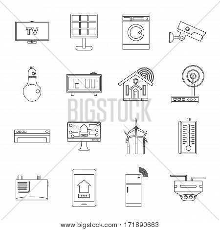 Smart home house icons set. Outline illustration of 16 smart home house vector icons for web