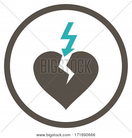 Break Heart rounded icon. Vector illustration style is flat iconic bicolor symbol inside circle grey and cyan colors white background.