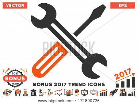 Orange And Gray Spanner And Screwdriver pictograph with bonus 2017 trend design elements. Vector illustration style is flat iconic bicolor symbols white background.
