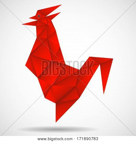 Abstract red rooster in polygonal style. Symbol of Chinese New Year 2017