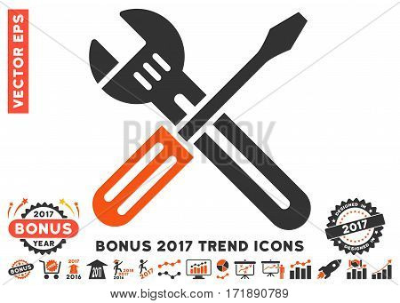 Orange And Gray Spanner And Screwdriver pictogram with bonus 2017 year trend design elements. Vector illustration style is flat iconic bicolor symbols white background.