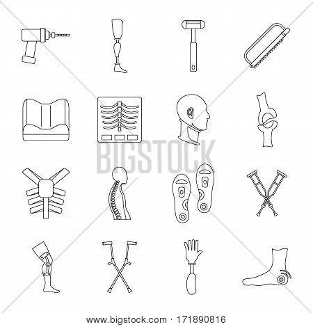 Orthopedics prosthetics icons set. Outline illustration of 16 orthopedics prosthetics vector icons for web