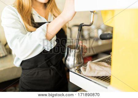 Barista Preparing A Cappuccino