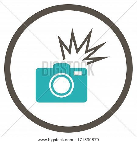 Camera Flash rounded icon. Vector illustration style is flat iconic bicolor symbol inside circle grey and cyan colors white background.