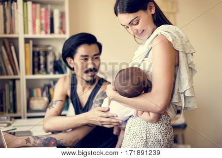 Parenting happiness with new born baby