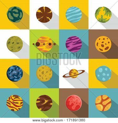 Fantastic planets icons set. Flat illustration of 16 fantastic planets vector icons for web
