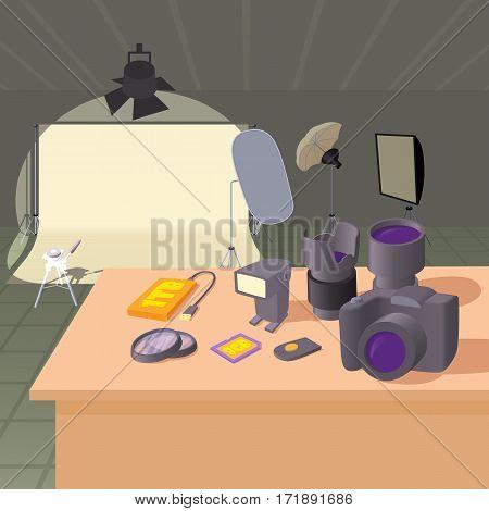 Photo studio concept set. Cartoon illustration of photo studio vector concept for web