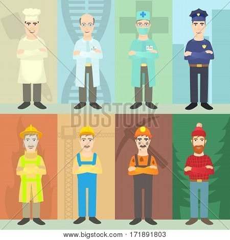 Professions mans concept set. Cartoon illustration of professions mans vector concept for web