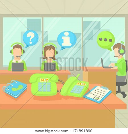 Call center service concept set. Cartoon illustration of call center service vector concept for web