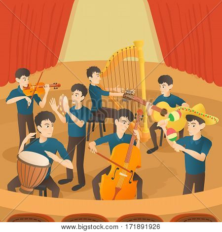 Orchestra musicians figures concept set. Cartoon illustration of orchestra musicians figures vector concept for web