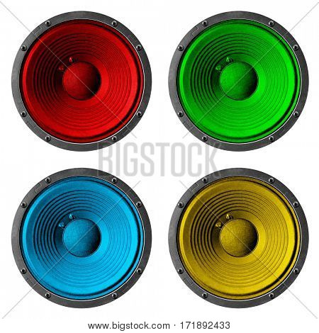 4 colorful speakers set isolated on white background.