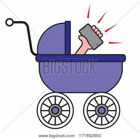 Baby in carriage is enjoying new cell phone