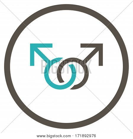 Gay Love Symbol rounded icon. Vector illustration style is flat iconic bicolor symbol inside circle grey and cyan colors white background.