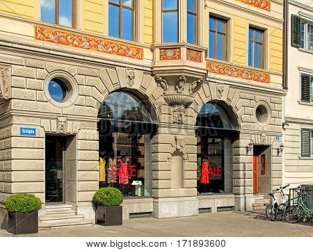 Zurich, Switzerland - 30 July, 2016: facade of a building in the Schipfe district. Schipfe is a residential district in Zurich, one of the oldest parts of the city.