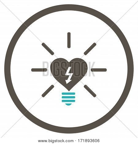 Heart Electric Bulb rounded icon. Vector illustration style is flat iconic bicolor symbol inside circle grey and cyan colors white background.