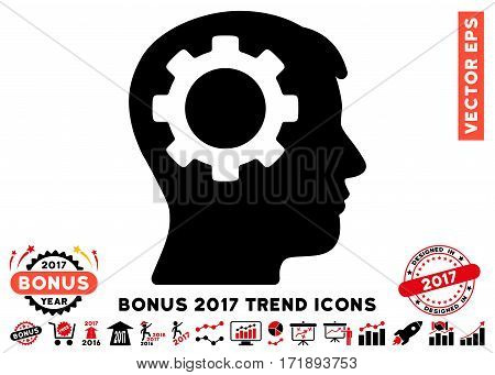 Intensive Red And Black Intellect Gear icon with bonus 2017 year trend images. Vector illustration style is flat iconic bicolor symbols white background.