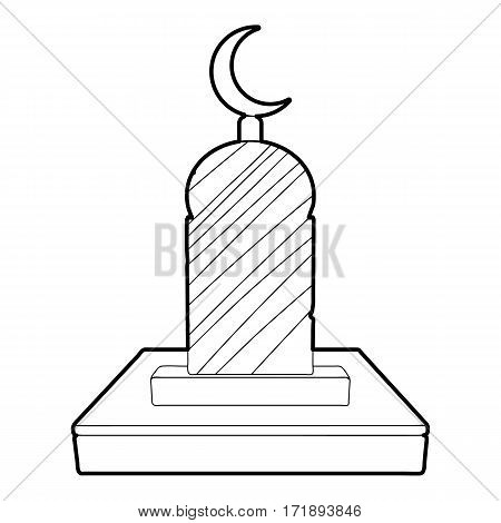 Muslim grave icon. Outline illustration of muslim grave vector icon for web