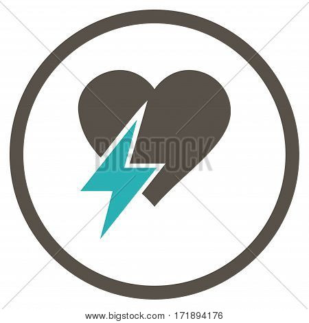 Heart Shock rounded icon. Vector illustration style is flat iconic bicolor symbol inside circle grey and cyan colors white background.
