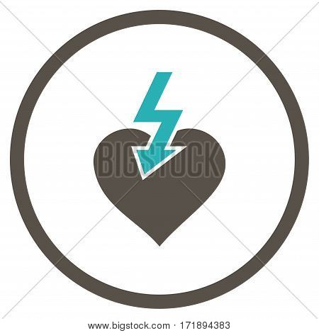 Heart Shock Strike rounded icon. Vector illustration style is flat iconic bicolor symbol inside circle grey and cyan colors white background.